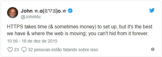 Tweet de JohnMU sobre HTTPS
