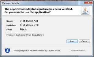 Certificado Code Signing Java não Seguro