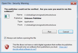 Certificados Code Signing Windows não Seguro